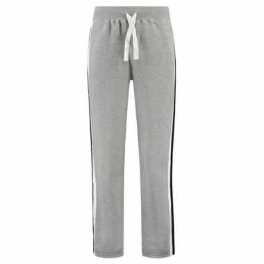 Trainingsbroek/trainingsbroek grijs met streep voor dames