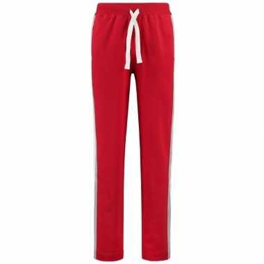 Trainingsbroek/trainingsbroek rood met streep voor dames