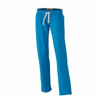 Vintage trainingsbroeken turquoise met zakken voor dames